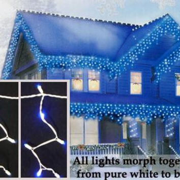 Blue And Pure White Color Changing Wide Angle Icicle Christmas Lights - 100 Color Changing Bulbs On White Wire