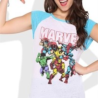 Short Sleeve Raglan Top with Marvel Comics Screen
