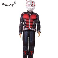Hot Movie Ant man Muscle Costume Child Boys Ant man Cosplay Costume for Boys Halloween Costume for Kids Fancy Dress with Masks