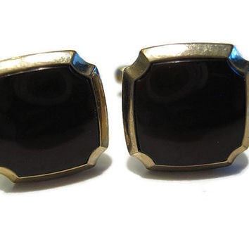 Gold Tone and Deep Red Vintage Hickok Cufflinks