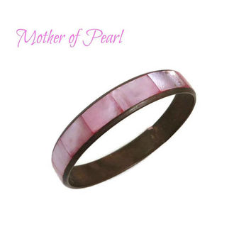Pink Mother of Pearl Bracelet - Vintage MOP Inlay Bracelet, Pastel Bangle