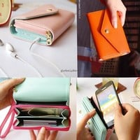 Envelope Wallet Case Purse For Iphone 4S 5C 5 Samsung Galaxy S2 S3 S4 Phone Bag