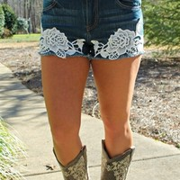 High Waist Floral Crochet Denim Shorts