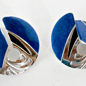 large vintage  Edgar Berebi royal blue and silver  earrings~antique retro 80s earrings sale