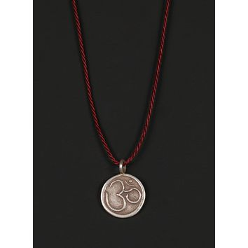 Men's Cord Necklace with Sterling Silver OM Pendant