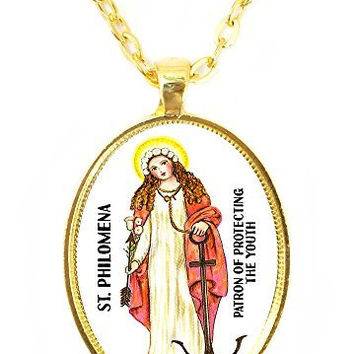 St Philomena Patron Saint of Protecting the Youth Huge 30x40mm Bright Gold Pendant with Chain Necklace