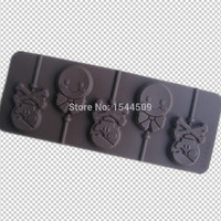 5 lattice Pirate skeletons / Pirates Skull chocolate silicone cake mold