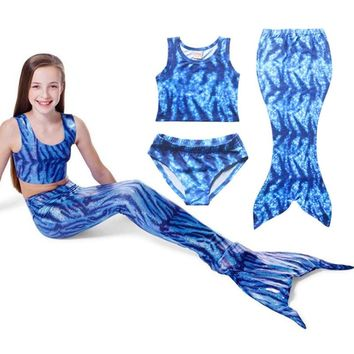 Latest Model Summer Girls Mermaid Bathing Suit 3-8yrs Children Clothing Size 110 -140 Fashion Girls Clothes Bikini Sets 3pcs/lot