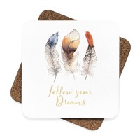 BoHo Feather Follow Your Dreams Square Hardboard Coaster Set - 4pcs, Boho Style Beverage Coaster