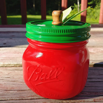 Painted Mason Jar Apple For Teacher Candy Holder Autumn Fall Set Pencil Holder Desk Organization || Ball Elite 16 oz. Pint