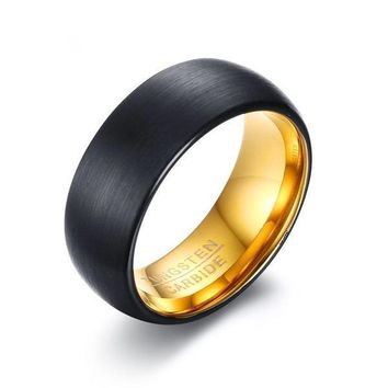 8mm Black Matte Surface Tungsten Rings for Men
