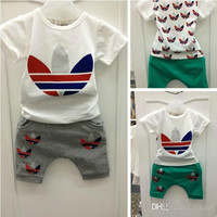2014 New Arrival Summer Baby Kids Clothing Sets Child Casual Suit Boys Girls Short Sleeve T-shirt + Pant Children Set.