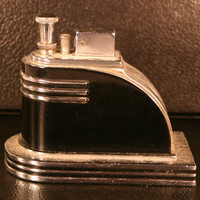 VINTAGE RONSON TOUCH TIP TABLE LIGHTER - VERY ART DECO BLACK ENAMEL AND CHROME