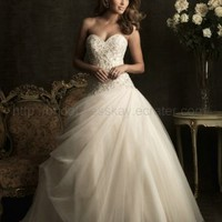 Ball Gown organza Wedding Dress with beaded lace embellishment