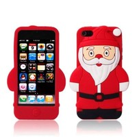 Leegoal(TM) Cute Santa Claus Christmas Soft Silicone Case for Apple iPhone 5 (Red)