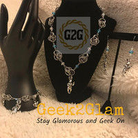 Alice In Wonderland White Rabbit Tea Party Blue and White Crystal Bead Stainless Steel Chainmail Necklace Bracelet Earrings Jewelry Set