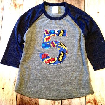 Navy and Grey Baseball Raglan Birthday 5 pow bang Birthday super hero cape Shirt Birthday shield fly man blue red yellow superhero boys