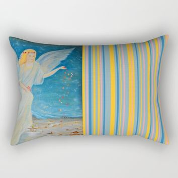 Bless me | Guardian Angels are Here | Angel of Abundance | Love Rectangular Pillow by Azima
