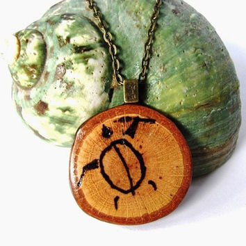 Sea Turtle Necklace Wood Pendant Woodburned Branch  Jewelry by Hendywood