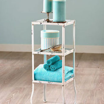 Vintage Style 3 Tier Bathroom Stand Holder Storage Shelves Distressed Metal