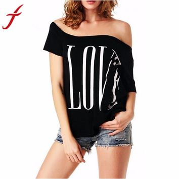3 Colors Of Printing Love letters Women's Blouse Off Shoulder Short Sleeve Blouse Casual Tops Shirt #LSIW