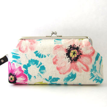 Frame Wristlet Clutch purse - watercolor floral