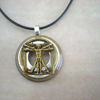 Vitruvian Man Necklace: Men's Necklace - Men's Jewelry - Leonardo da Vinci - Men's Fashion - Unique Jewelry - Father's Day
