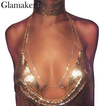 ac DCCKO2Q Glamaker Halter backless shiny club rhinestones body chain bra Sexy summer beach chic women bra accessories
