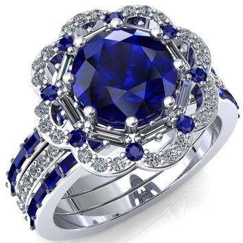 Camelia Round Blue Sapphire Accent Diamond and Blue Sapphire Halo Ring