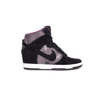 NIKE Dunk Sky Hi Wedge Heel Black Black-Sail - 543258-001 - womens shoes size 7