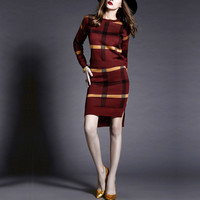 Vintage Elegant Knitted Knee-length Dresses 2016 Autumn Winter Women Long Sleeve O Neck Plaid Bodycon Two Piece Dress Vestidos