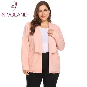 IN'VOLAND Plus Size L-4XL Women Blazer Suit Spring Autumn 2018 New Shawl Lapel Open Front Solid Zipper Large Jacket Top Big Size