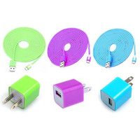 Total 6pcs/Lot! Im Length 3PCS USB Data Charging Cable Cord And 3PCS USB Power Adapter Wall Charger For Iphone 5