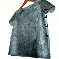 Silver-Grey Ultra Soft Leather Top