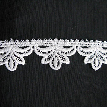 Bridal Lace Trim, White By The Yard Guipure Lace Fabric, Venice Crafting Laces