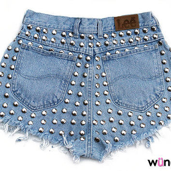 The Metal Shorts (studded, high-waisted, distressed)