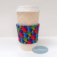Puzzle Pieces Coffee Cup Cozy, Cold Drink Wrap, reusable, eco-friendly