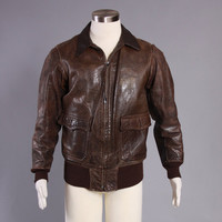 40s Authentic G-1 Leather JACKET / 1940s WWII Goat Skin Bomber with Named Sea Dogs Stencil Painting
