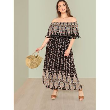 Plus Tribal Print Tassel Detail Bardot Dress Multicolor