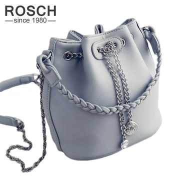 2016 New Fashion Women Chain Bucket Bag Korean Style Female Woven Handbag Casual Ladies Shoulder Bag Women's Messenger Bag
