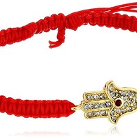 Tai Gold-Plated and Cubic Zirconia Ruby Red Hamsa Bracelet