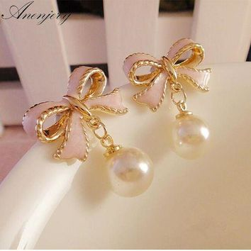 DCCKFV3 Anenjery High Quality Delicate Gold Color Pink Drops Of Oil Butterfly Bow Knot Pearl Stud Earrings For Women brincos E22