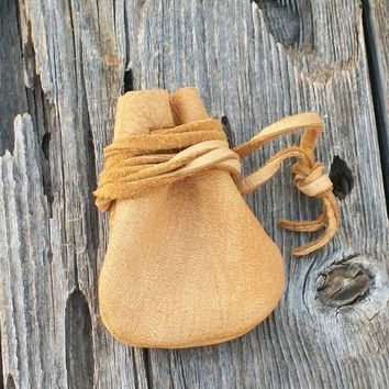 Leather medicine bag , Leather medicine pouch ,  Buckskin leather neck pouch