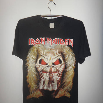 Vintage Iron Maiden 1997 Eddie Candle Finger T Shirt 1990s Heavy Metal Unisex T