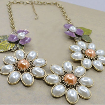 Floral Statement Necklace,Vintage bib Jewelry,Monet Inspired Chunky Necklace,Bridesmaids Gift, Ready to Ship