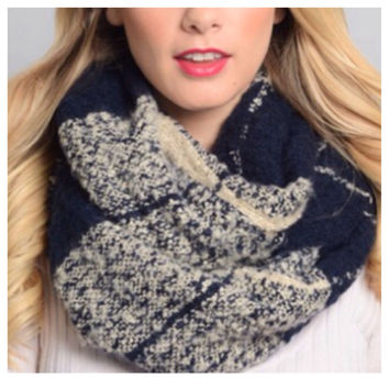 Amazing Checkered Block Large Navy Infinity Scarf, Cowl