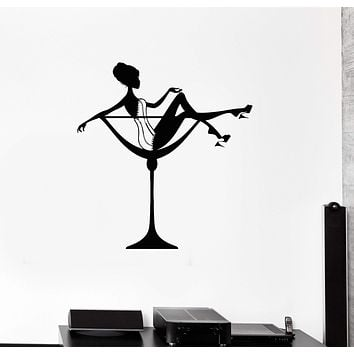 Wall Decal Sexy Woman Cocktail Glass Pin Up Art Decor Vinyl Stickers Unique Gift (ig2876)