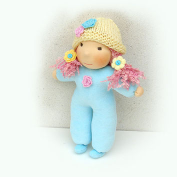 Waldorf doll in pastel colors mint, 10 inch, spring, easter gift , eco friendly gifts for kids