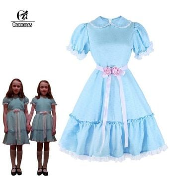 Cool ROLECOS Women Halloween Costume The Shining Twins Cosplay Costume Sweet Lolita Dress Horror Movie Cosplay Girl Party ClothingAT_93_12