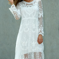 Crochet Knee Length Lace Dress